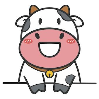 Ręcznie rysować uśmiech krowy cięcia