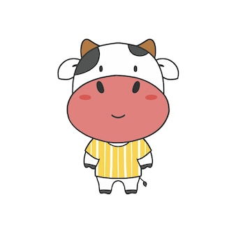 Ręcznie rysować wyciętą krowę w koszuli