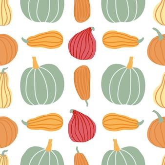 Ręcznie rysować wzór dyni w prostym tle doodle styl wektor dynie w pastelowym kolorze o różnych kształtach i rozmiarach. szablon na halloween, święto dziękczynienia, żniwa