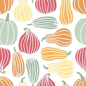 Ręcznie rysować wzór dyni w prostym tle doodle styl wektor dynie w pastelowym kolorze o różnych kształtach na białym tle. szablon na halloween, święto dziękczynienia, żniwa
