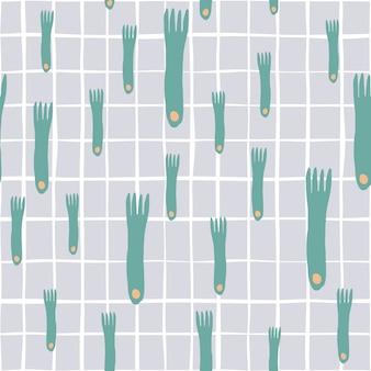 Ręcznie rysować wzór widelca na graybackground. prosty styl jednolity wzór sztućców. minimalny skandynawski design