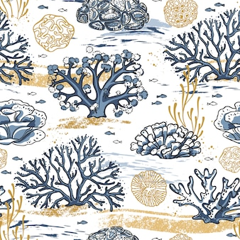 Ręcznie rysować wzór żywego koralowca na białym tle