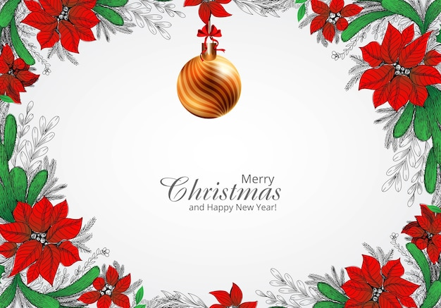 Ręcznie rysować zdobione boże narodzenie wieniec tło kartki świąteczne