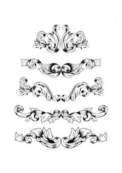 Ręcznie rysować zestaw dekoracyjny wzór adamaszku