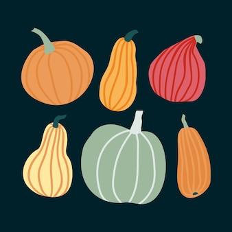Ręcznie rysować zestaw dyni w prostym stylu doodle. ilustracji wektorowych dynie w pastelowym kolorze o różnych kształtach i rozmiarach na białym tle na ciemnym tle. szablon na halloween, święto dziękczynienia, żniwa