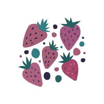 Ręcznie rysować zestaw sztuki słodkie truskawki. na białym tle truskawki w kolorze różowym