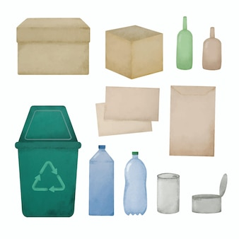 Ręcznie rysowana akwarela z materiałów pochodzących z recyklingu wykonanych z tworzywa sztucznego
