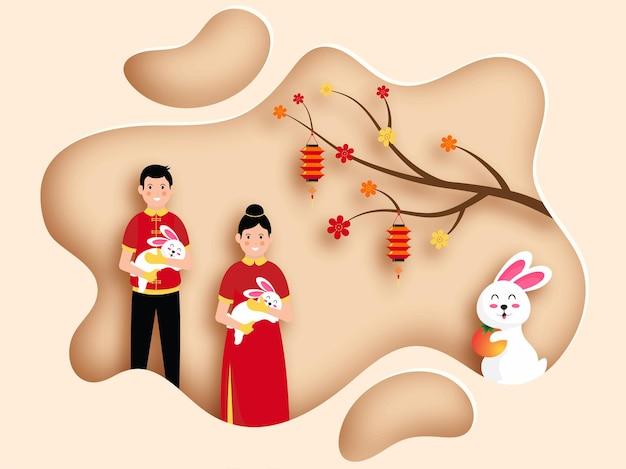 Ręcznie rysowana chińska ilustracja postaci festiwalu chuseok premium vectorr