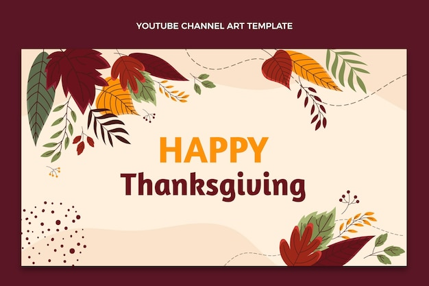Ręcznie rysowana grafika kanału youtube na święto dziękczynienia