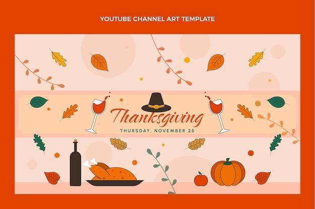 Ręcznie rysowana grafika na kanale youtube na święto dziękczynienia
