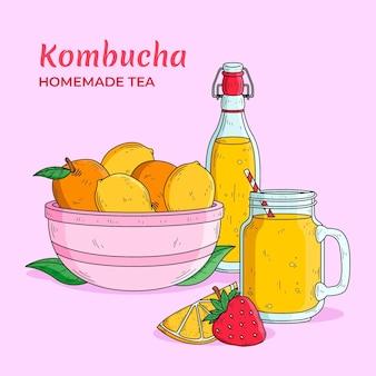 Ręcznie rysowana herbata kombucha