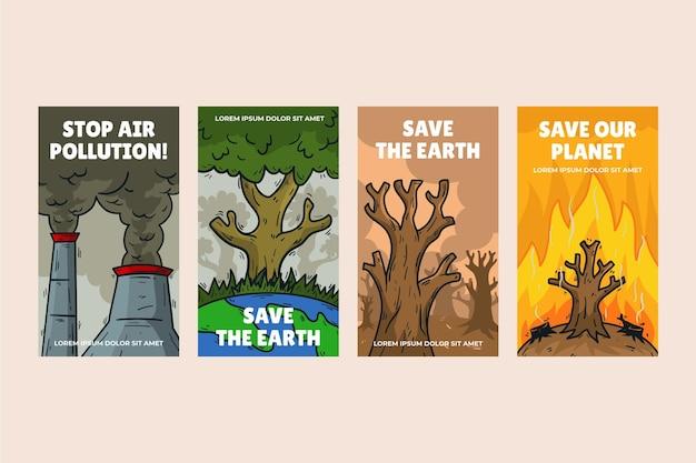 Ręcznie rysowana historia zmian klimatu w stylu instagram