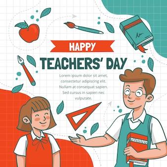 Ręcznie rysowana ilustracja dnia nauczyciela