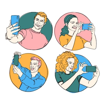Ręcznie rysowana ilustracja ludzi robiących zdjęcia za pomocą smartfona