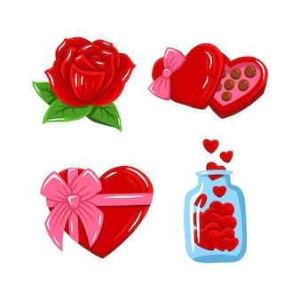 Ręcznie rysowana ilustracja pakietu aktywów valentina