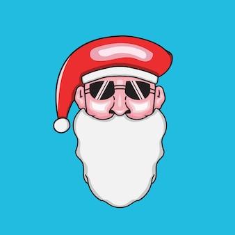 Ręcznie rysowana ilustracja santa z okularami przeciwsłonecznymi, idealna na nowy rok i boże narodzenie