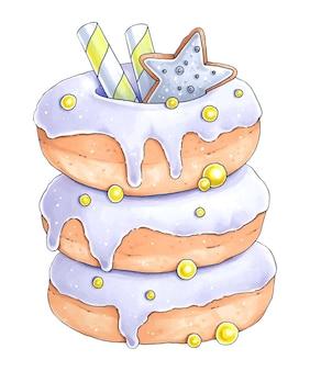 Ręcznie rysowana ilustracja z pączkami