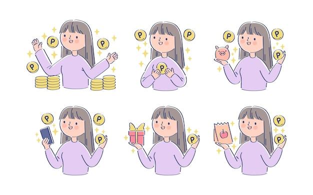Ręcznie rysowana japońska postać zbierająca punkty
