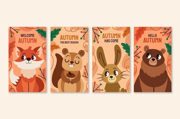 Ręcznie rysowana jesienna kolekcja opowiadań na instagramie