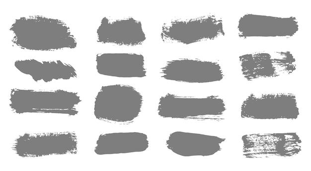 Ręcznie Rysowana Kolekcja Abstrakcyjnych Linii Atramentu I Pociągnięć Pędzlem Brudna Tekstura Wektor Banerów Premium Wektorów