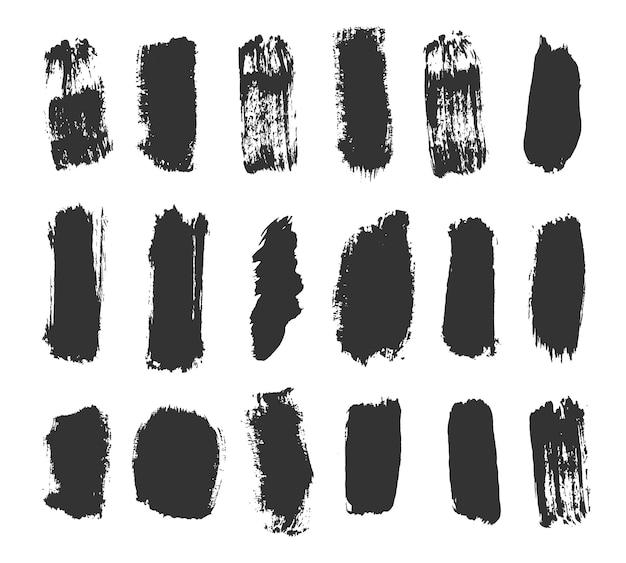 Ręcznie rysowana kolekcja abstrakcyjnych linii atramentu i pociągnięć pędzlem brudna tekstura wektor banerów