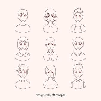Ręcznie rysowana kolekcja bezbarwnych avatarów
