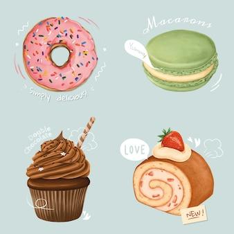 Ręcznie rysowana kolekcja deserów