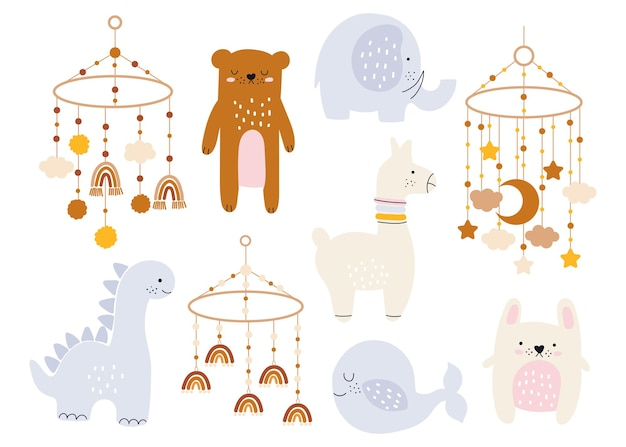 Ręcznie rysowana kolekcja do dekoracji przedszkola i baby shower