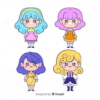 Ręcznie rysowana kolekcja dziewczynek kawaii