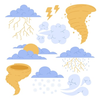 Ręcznie rysowana kolekcja efektów pogodowych