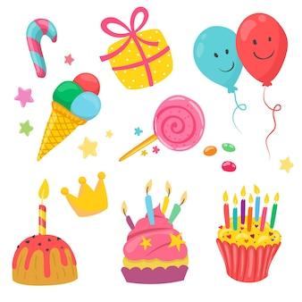 Ręcznie rysowana kolekcja elementów urodzinowych