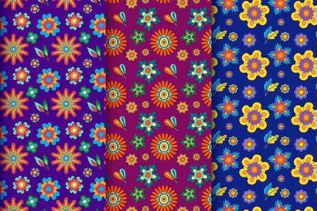 Ręcznie rysowana kolekcja groovy kwiatowy wzór