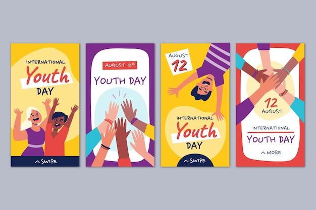 Ręcznie rysowana kolekcja historii międzynarodowego dnia młodzieży youth