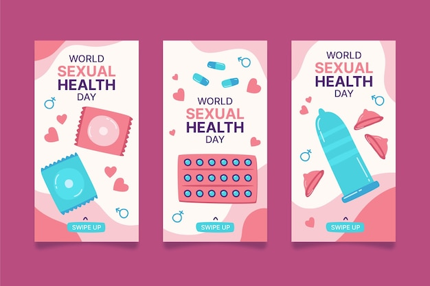 Ręcznie rysowana kolekcja historii na instagramie na temat światowego dnia zdrowia seksualnego