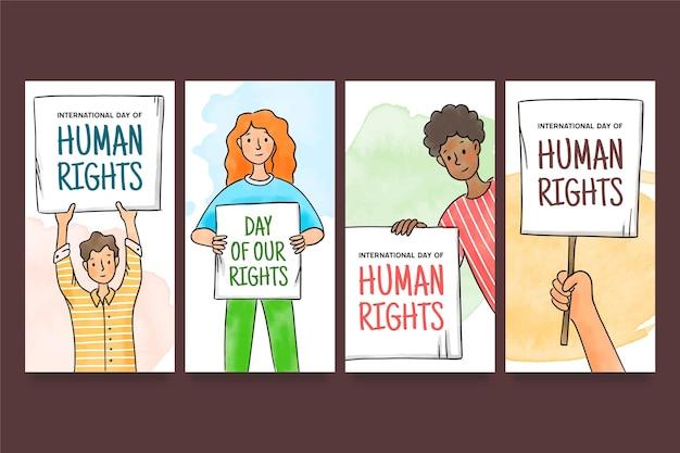 Ręcznie rysowana kolekcja historii na instagramie z okazji międzynarodowego dnia praw człowieka z ludźmi i plakatami