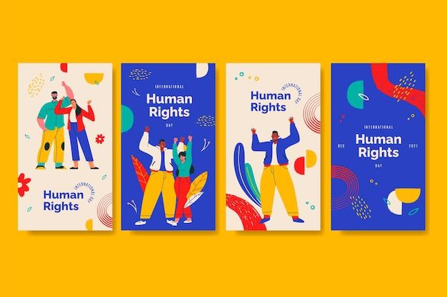 Ręcznie rysowana kolekcja historii na instagramie z okazji międzynarodowego dnia praw człowieka
