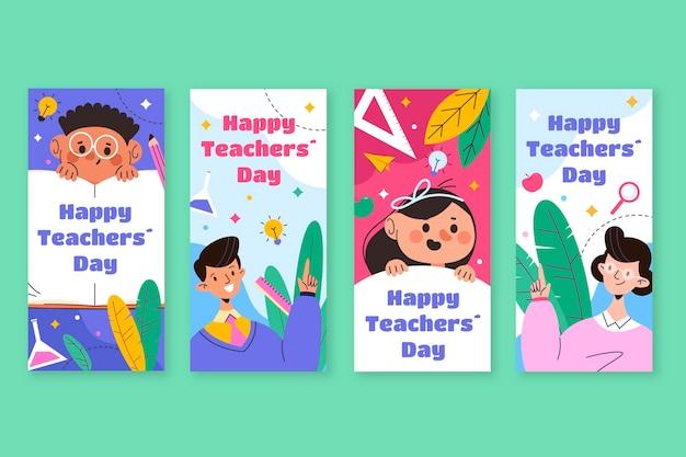 Ręcznie rysowana kolekcja historii płaskich nauczycieli z okazji dnia nauczyciela