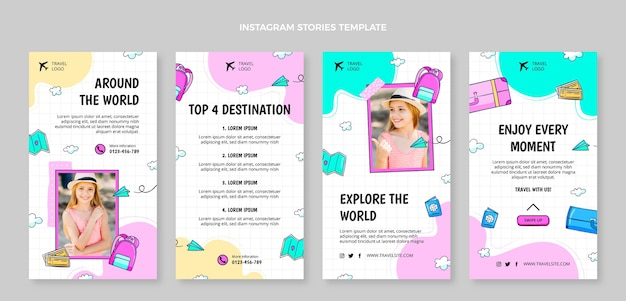 Ręcznie rysowana kolekcja historii podróży na instagramie