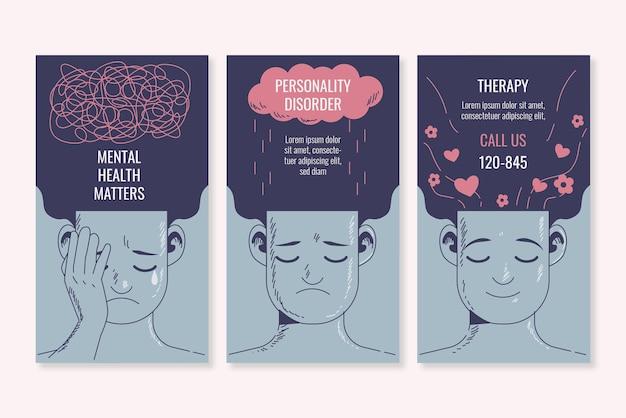 Ręcznie rysowana kolekcja historii zdrowia psychicznego na instagramie