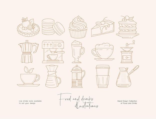 Ręcznie rysowana kolekcja ilustracji z jedzeniem i napojami