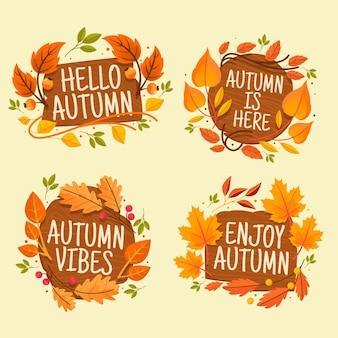Ręcznie rysowana kolekcja jesiennych etykiet