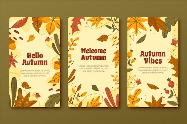 Ręcznie rysowana kolekcja jesiennych historii na instagramie