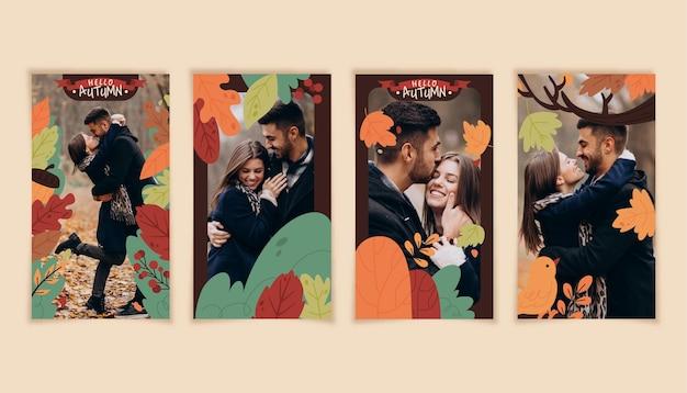 Ręcznie rysowana kolekcja jesiennych opowieści na instagramie ze zdjęciem