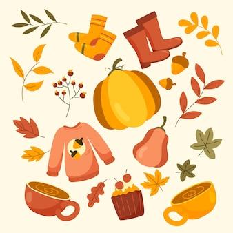 Ręcznie rysowana kolekcja jesiennych ozdób