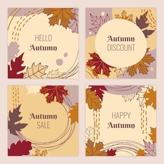 Ręcznie rysowana kolekcja jesiennych postów na instagramie