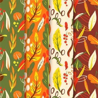 Ręcznie rysowana kolekcja jesiennych wzorów