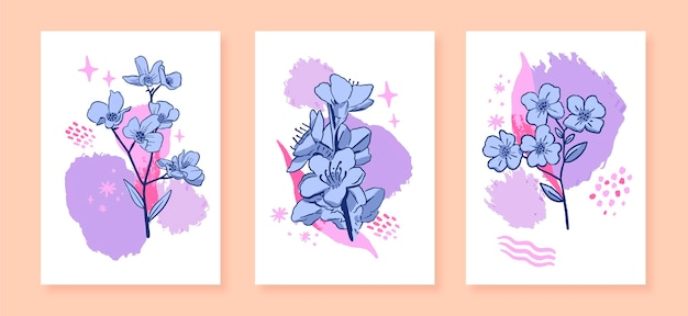 Ręcznie rysowana kolekcja kart kwiatowych