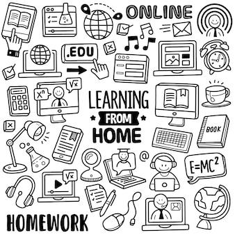 Ręcznie rysowana kolekcja: learning from home