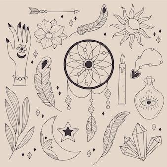 Ręcznie rysowana kolekcja liniowych elementów boho