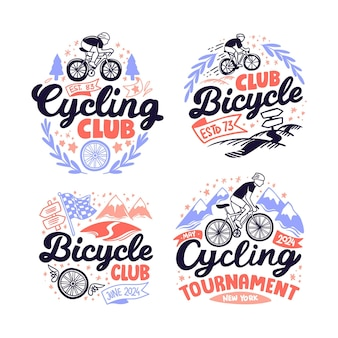 Ręcznie rysowana kolekcja logo roweru